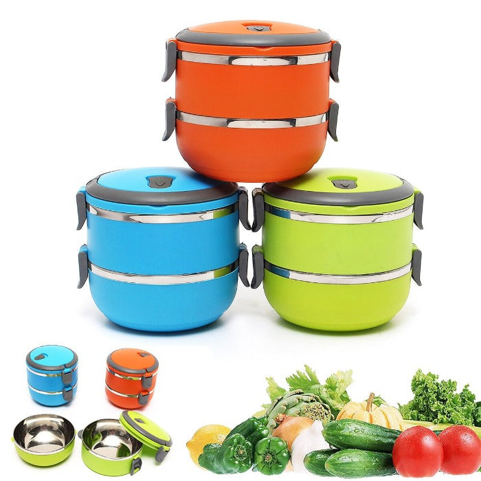 Bright colored 2 tiered Thermal Insulated Bento Stainless Steel Lunch Box. Orange, Green and Blue. Also shows fresh vegetables and one of the lunch boxes open showing the stainless steel interior.