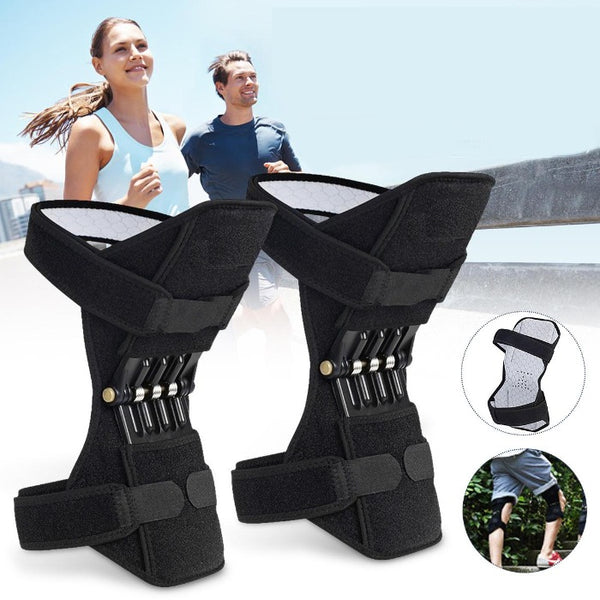 This image has a background image of a man and woman  jogging. The foreground has three images, one large, two smaller in circles. One of the small circles shows the front side of the Knee Brace Support With Spring Hinge with soft, wicking fabric and the hook closure straps closed. The second shows two legs wearing shorts and two showing Knee Braces Supports while climbing steps. The third larger image is the back of the black showing showing the spring supports and how the hook closure straps attach.