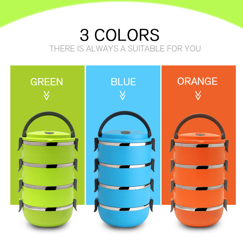 3 colors of 4 tiered bento lunch boxes. Green blue and orange