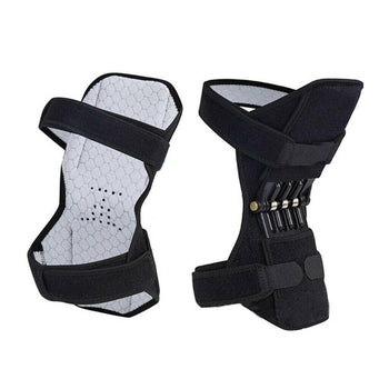 Image shows the showing Knee Brace Support With Spring Hinge front and back. Front image shows the soft, wicking light grey material that fits against the skin or clothing and the hook closure straps fastened. Back image shows the straps also fastened, but focuses on the springs that help support and lift the body when worn.
