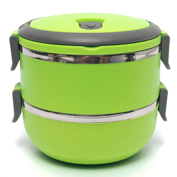 Vibrant Green 2 Tiered Thermal Insulated Bento Stainless Steel Lunch Box assembled with lids locks locked, handle down and vent lock also locked down.