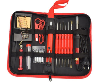 Multi soldering tool kit image showing the Electric Solder Iron 60W Desoldering Pump 26 Piece Set all put away in its carrying case. Shows the solder tool holder and base, screwdriver and extra tips, spare wire and wire stripper, flux holder/feeder, tweezers and fine tip pointer, multiple extra precisoin tools, solder iron and the black carrying case itself.