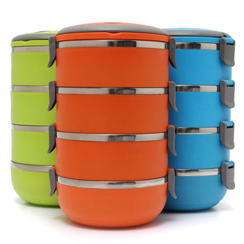 Three sets of 4 tiered round bento boxes. One green, one blue, one orange. Lids locks and there is a carry handle.