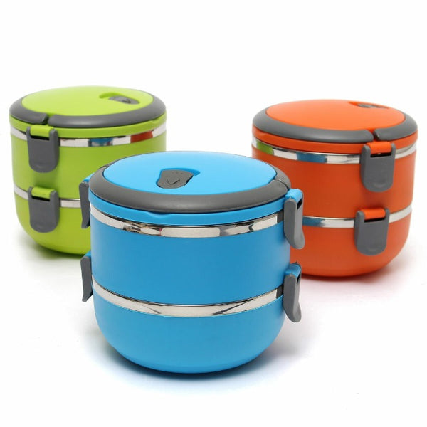 Three 2 Tiered Thermal Insulated Bento Stainless Steel Lunch boxes. Vibrant Orange, Vibrant Green, Vibrant Blue.