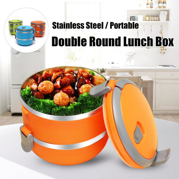 Orange round bento box with sitr fry and broccoli in it. Bento Box has two layers and shows a locking lid.
