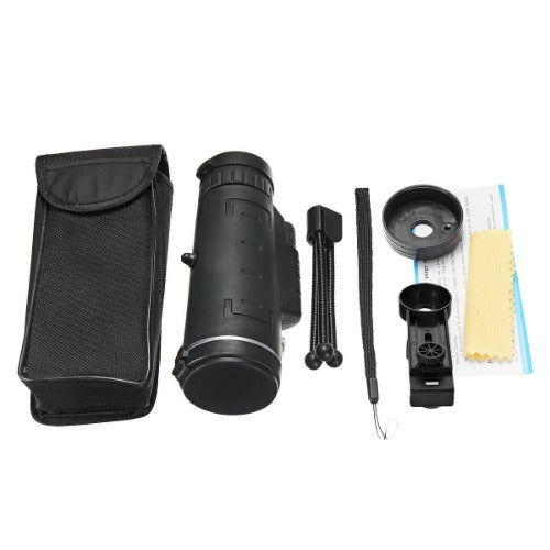 Monocular carrying case, monocular, tripod, strap and smartphone clip