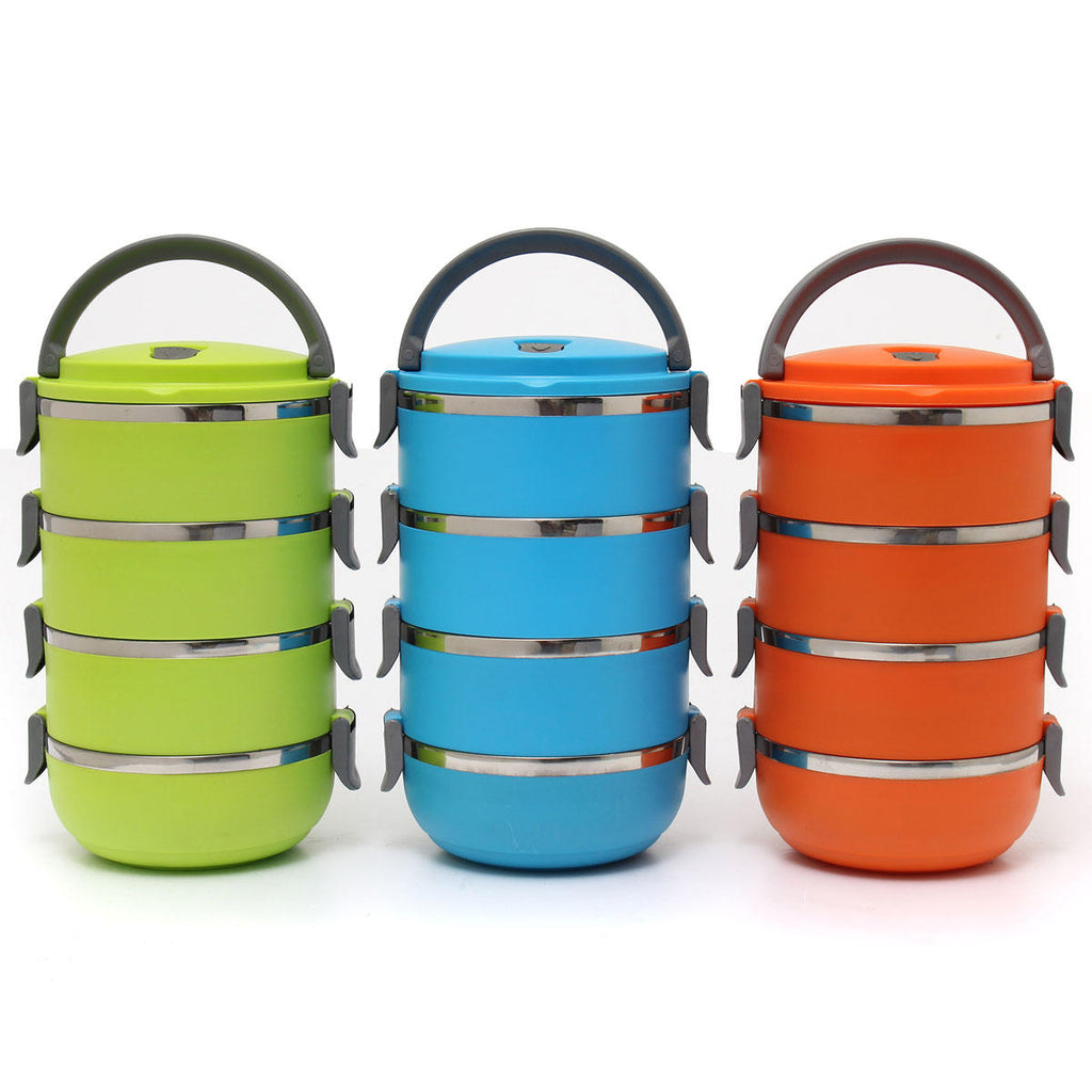 Three 4 layered bento boxes or lunch boxes. Shows carry handles and locking mechanisms for the bowls.