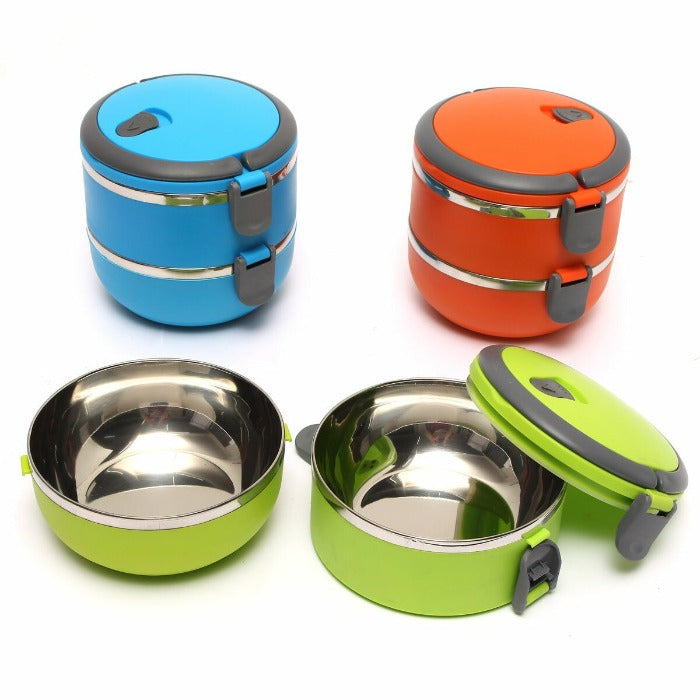 Vibrant Blue, Vibrant Orange and Vibrant Green 2 tiered thermal Insulated Bento Stainless Steel lunch boxes. Vibrant Green and vibrant Orange are assembled and locked ready to go, the Vibrant Green is open revealing easy to clean stainless steel interiors.