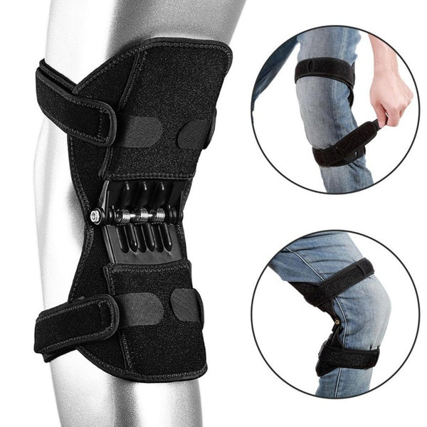 Image showing Knee Brace Support With Spring Hinge being worn over jeans in two small images. One image shows the wearer wrapping the attachment strap around the leg below the knee.  Shows the Knee Brace Support With Spring Hinge being worn and the leg is bent to show the springs in action. The third small image shows the showing Knee Brace Support With Spring Hinge back side that reveals the springs and attachment straps wrapped around the leg.
