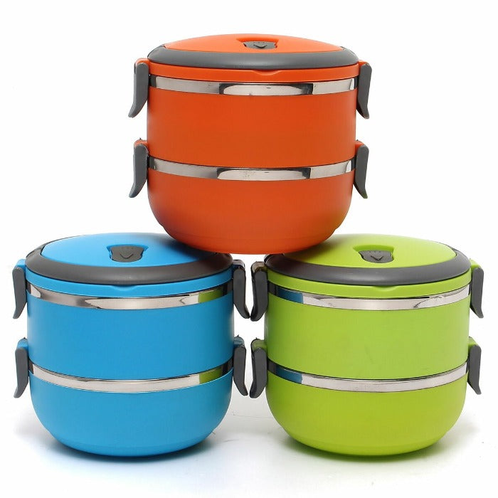 Pyramid of 3 2 tiered Thermal Insulated Bento Stainless Steel Lunch Boxes. Vibrant Blue and Vibrant Green make the base and Vibrant Orange is on the top of the pyramid.