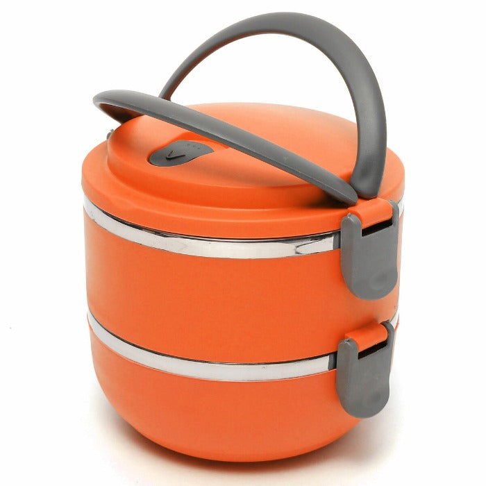 Vibrant Orange 2 Tiered Thermal Insulated Bento Stainless Steel Lunch Box is assembled, grey colored bowl locks are locked down and the comfort grip handle is up and ready to go!