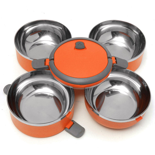 Orange bento box dissembled to show clean smooth stainless steel interiors and the locking lid with carrying handle.