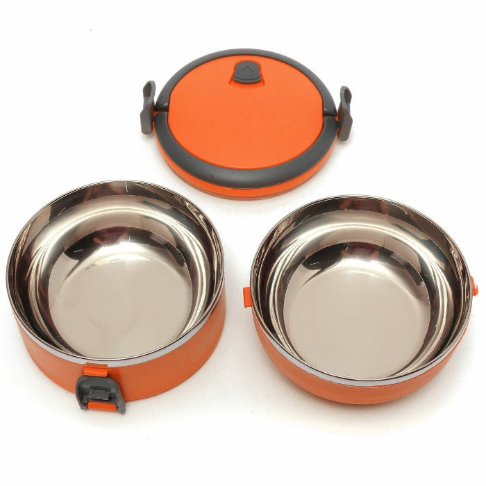 Vibrant Orange 2 Tiered Thermal Insulated Bento Stainless Steel Lunch Box is open showing two stainless easy to clean interiors and the lid waiting for your lunch to be put in and ready to go!