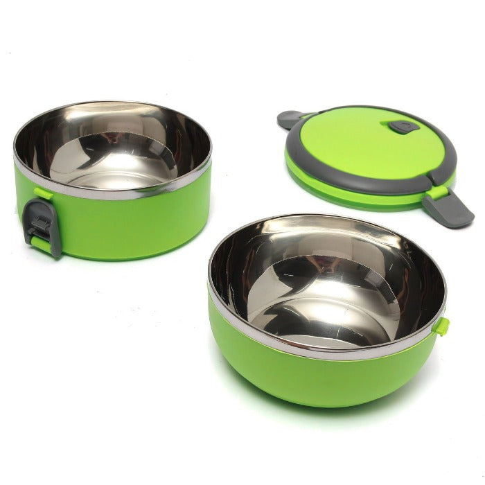 Vibrant Green 2 Tiered Thermal Insulated Bento Stainless Steel Lunch Box is open showing two stainless easy to clean interiors and the lid waiting for your lunch to be put in!