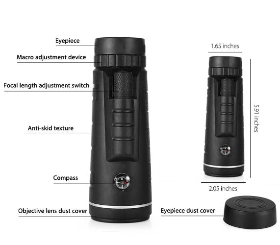 Monocular lens with details of compass, lens cover, textured grip and focus dial
