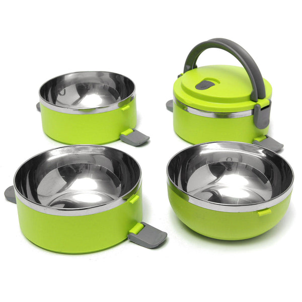 Bright green bento box dissembled showing 4 bowls that can stack and lock together for carrying ease with handle. Stainless bowls are smooth and rounded inside.