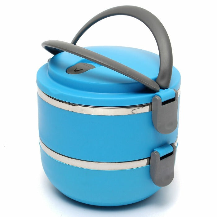 Vibrant Blue 2 Tiered Thermal Insulated Bento Stainless Steel Lunch Box is assembled, grey colored bowl locks are locked down and the comfort grip handle is up and ready to go!