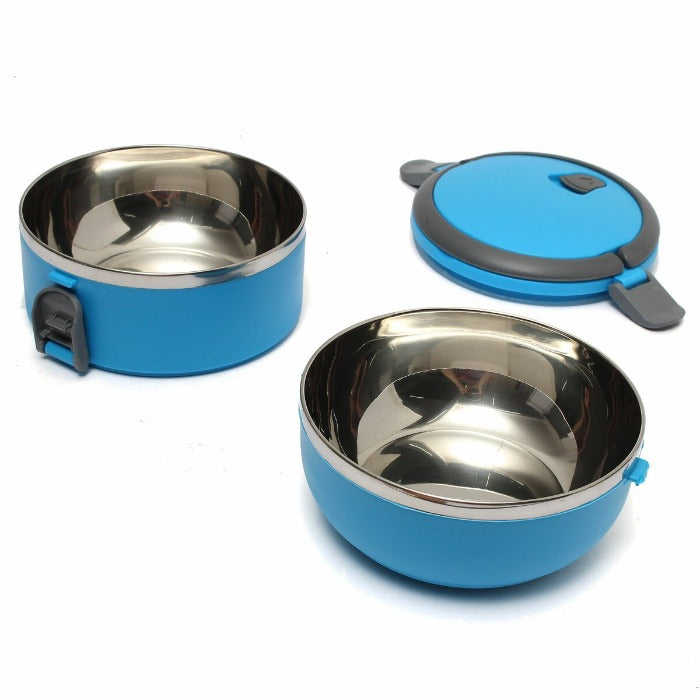 Vibrant Blue 2 Tiered Thermal Insulated Bento Stainless Steel Lunch Box is open showing two stainless easy to clean interiors and the lid waiting for food to be placed inside.