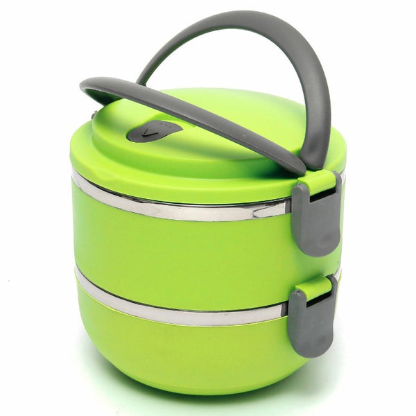 Vibrant light green 2 Tiered thermal Insulated Bento Stainless Steel Lunch Box. Comfort grip handle and locking lid and bowls.