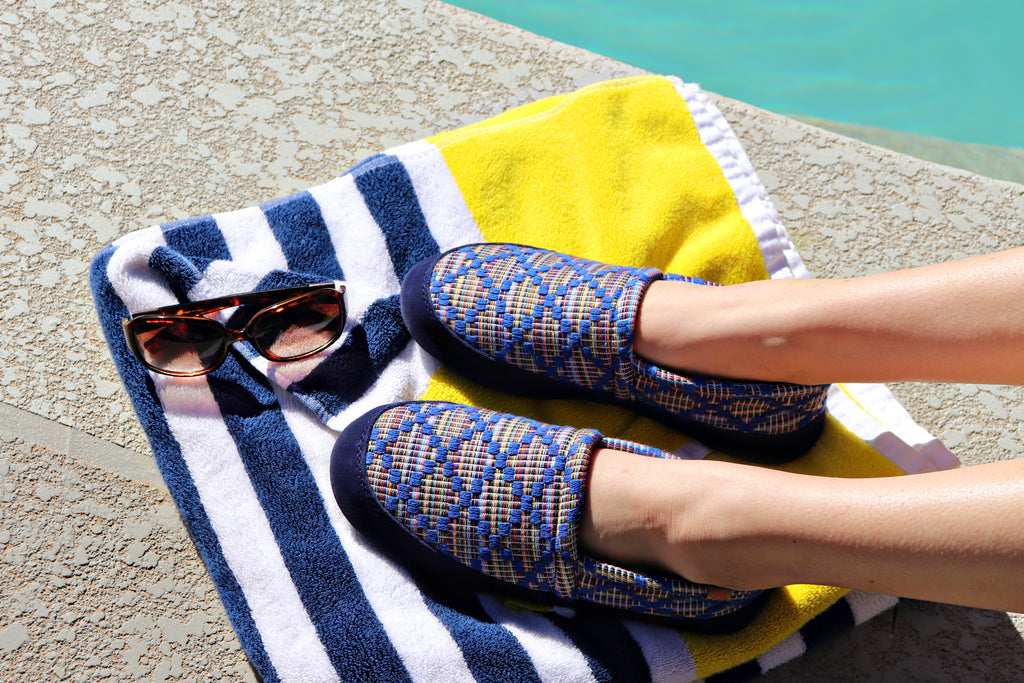 Women's Summerweight Acorn Mocs on figure poolside
