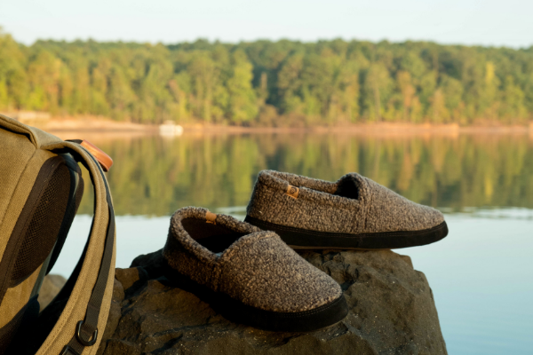 acorn moccasin slippers by the lake