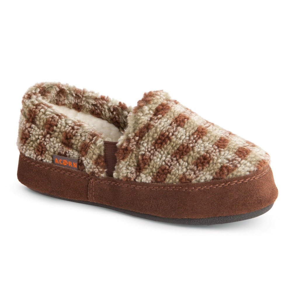 Kid's Colby Gore Moccasins in Brown Check