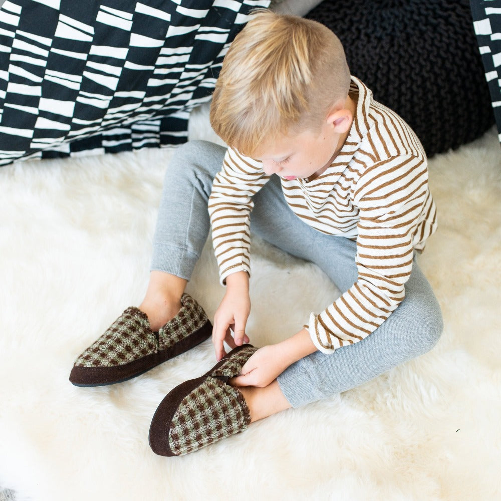 Kid's Colby Gore Moccasins in Brown Berber Being Put on Model