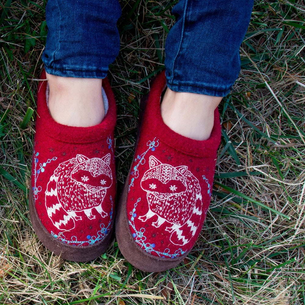 Women's Forest Mule Slippers in Red Raccoon On Model