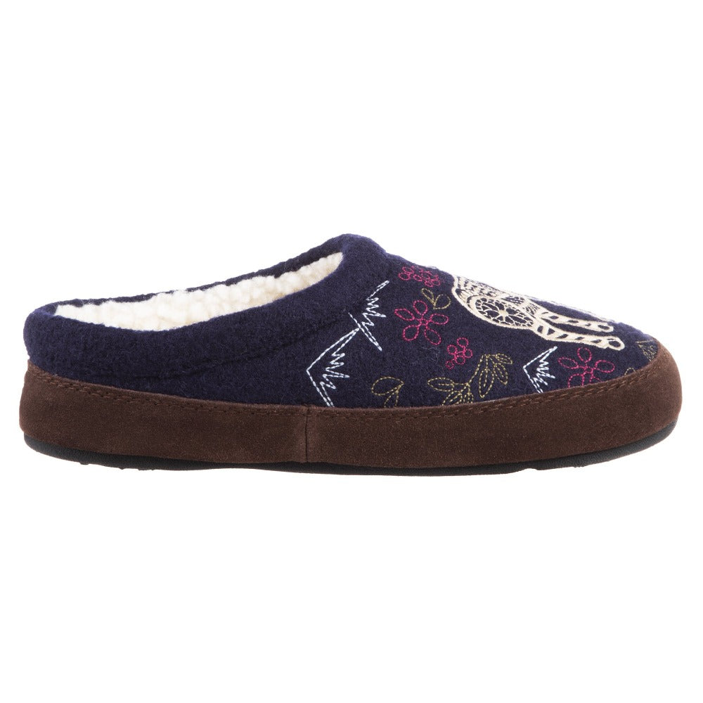 Women's Forest Mule Slippers in Navy Moose Profile