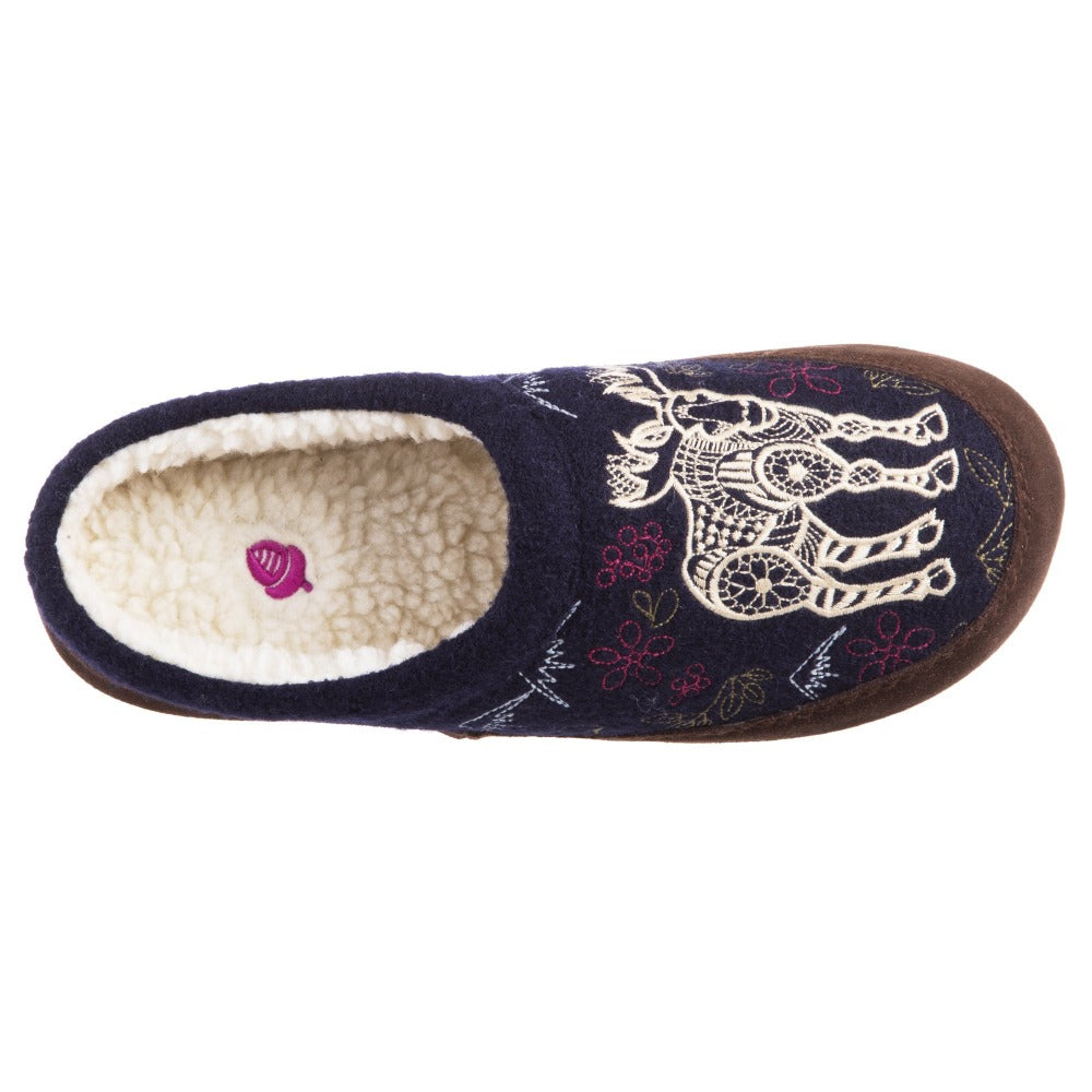 Women's Forest Mule Slippers in Navy Moose Inside Top View