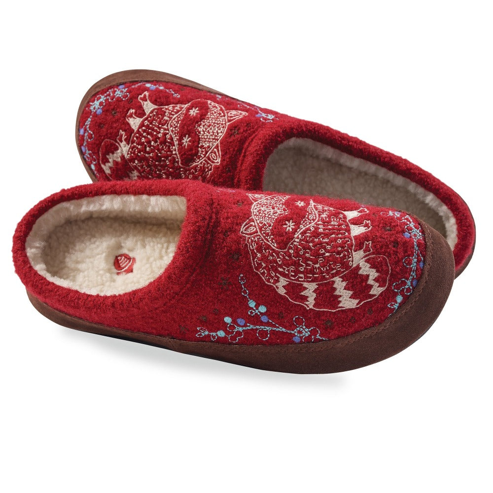 Women's Forest Mule Slippers Pair in Red Raccoon Inside Top View