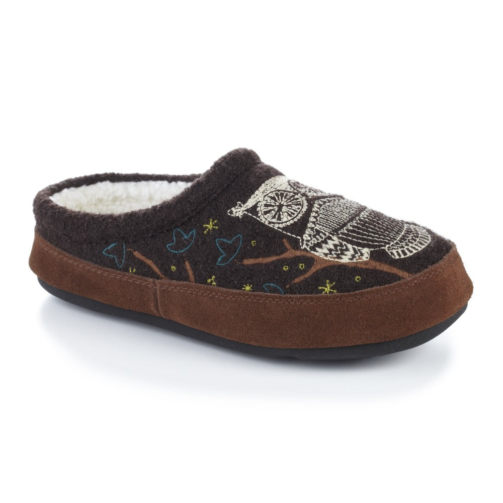 Women's Forest Mule Slippers in Chocolate Owl Right Angled View