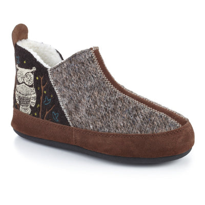 Women's Forest Bootie Slippers in Chocolate Owl Right Angled View