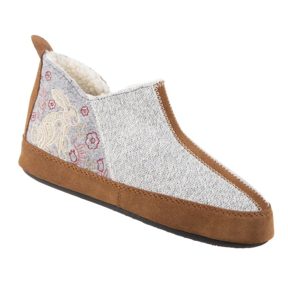 Women's Forest Bootie Slippers in Heather Grey Hare Right Angled View