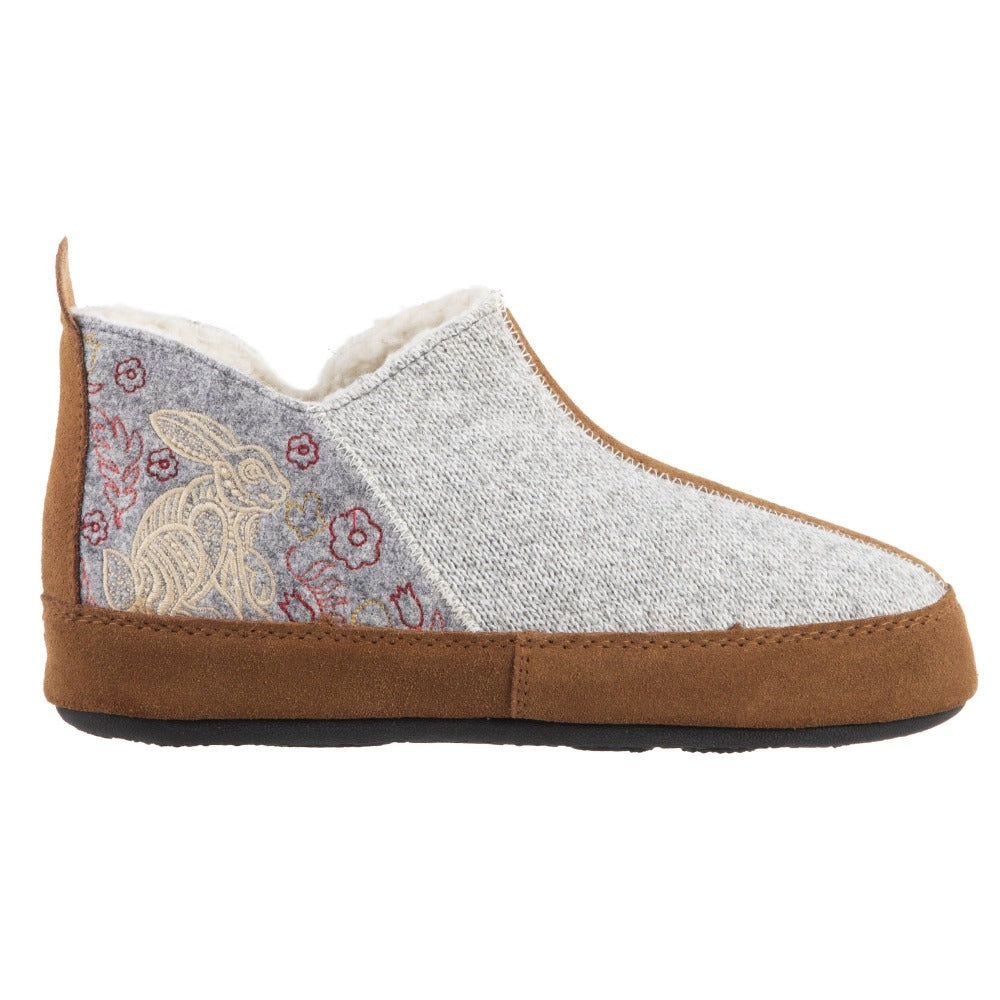 Women's Forest Bootie Slippers in Heather Grey Hare Profile