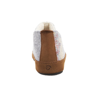Women's Forest Bootie Slippers in Heather Grey Hare Back Heel
