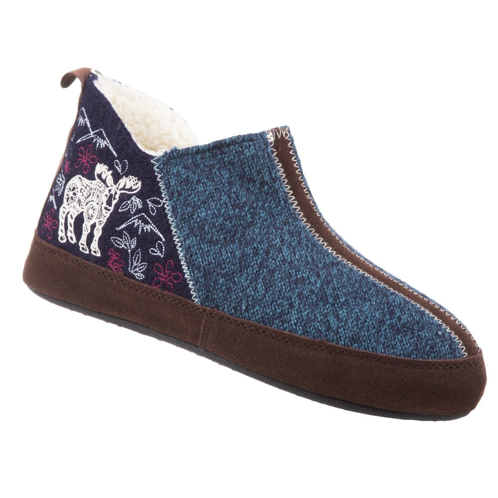Women's Forest Bootie Slippers in Navy Moose Right Angled View