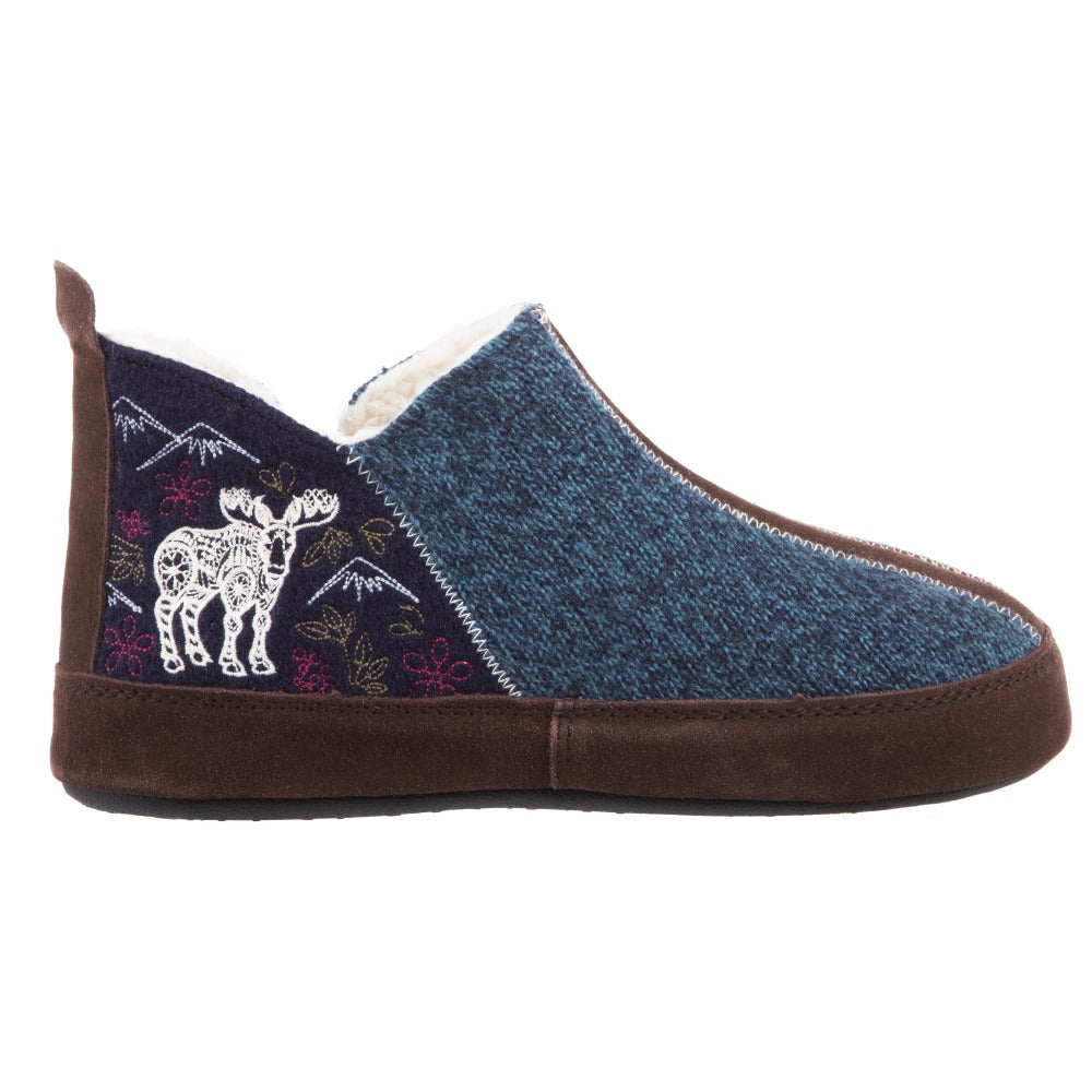 Women's Forest Bootie Slippers in Navy Moose Profile