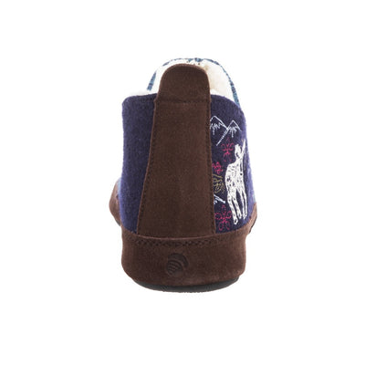 Women's Forest Bootie Slippers in Navy Moose Back Heel