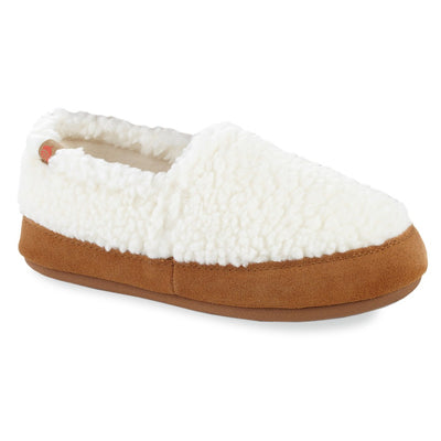 Women's Fleece Moc Slippers in Buff Popcorn Right Angled View