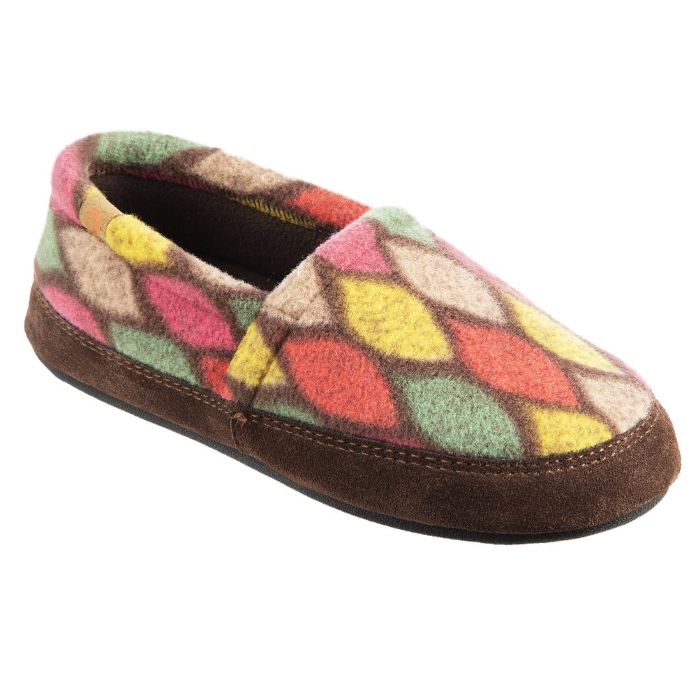 Women's Fleece Moc Slippers in Brown and Pink Leaves Right Angled View