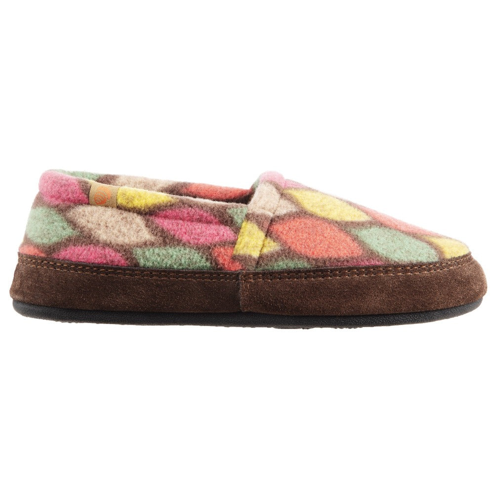 Women's Fleece Moc Slippers in Brown and Pink Leaves  Profile