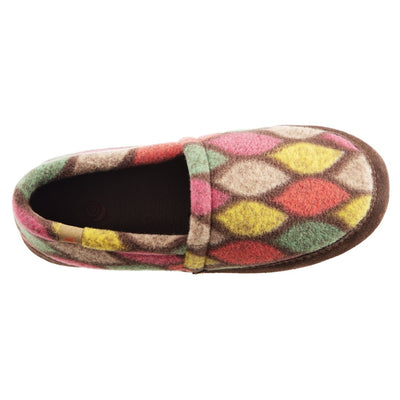 Women's Fleece Moc Slippers in Brown and Pink Leaves  Inside Top View