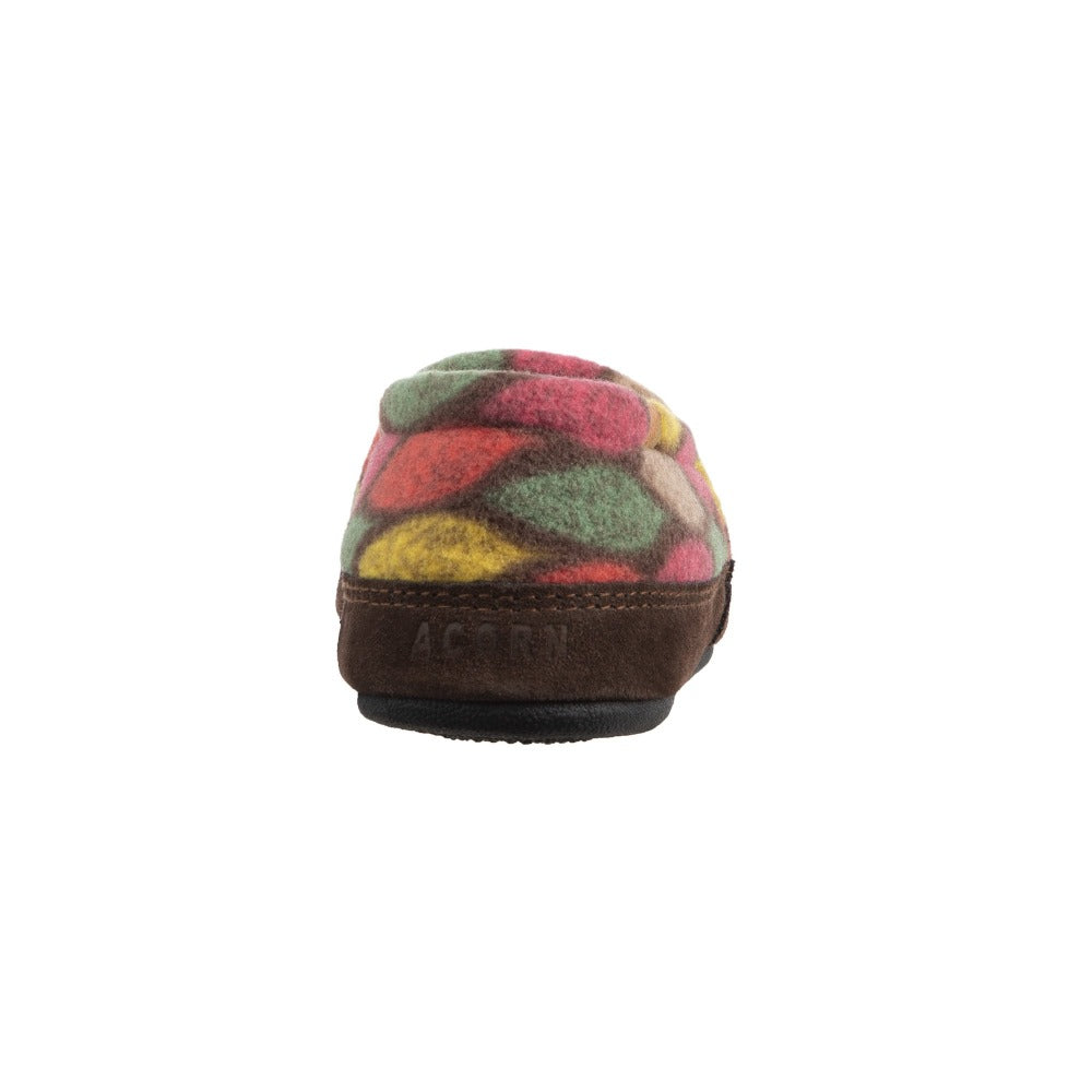 Women's Fleece Moc Slippers in Brown and Pink Leaves Heal