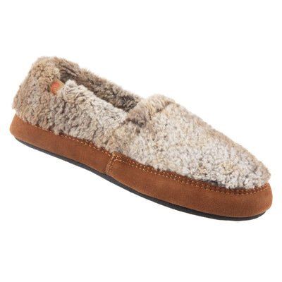 Women's Fleece Moc Slippers in Brown Berber Right Angled View