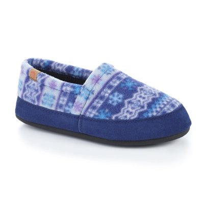 Women's Fleece Moc Slippers in Icelandic Blue Right Angled View