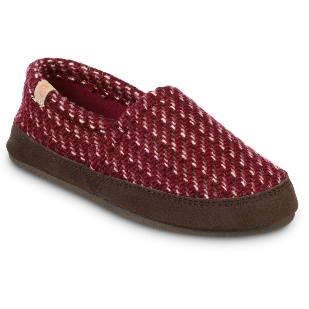 Women's Original Acorn Moccasins in Garnet Red Right Angled View