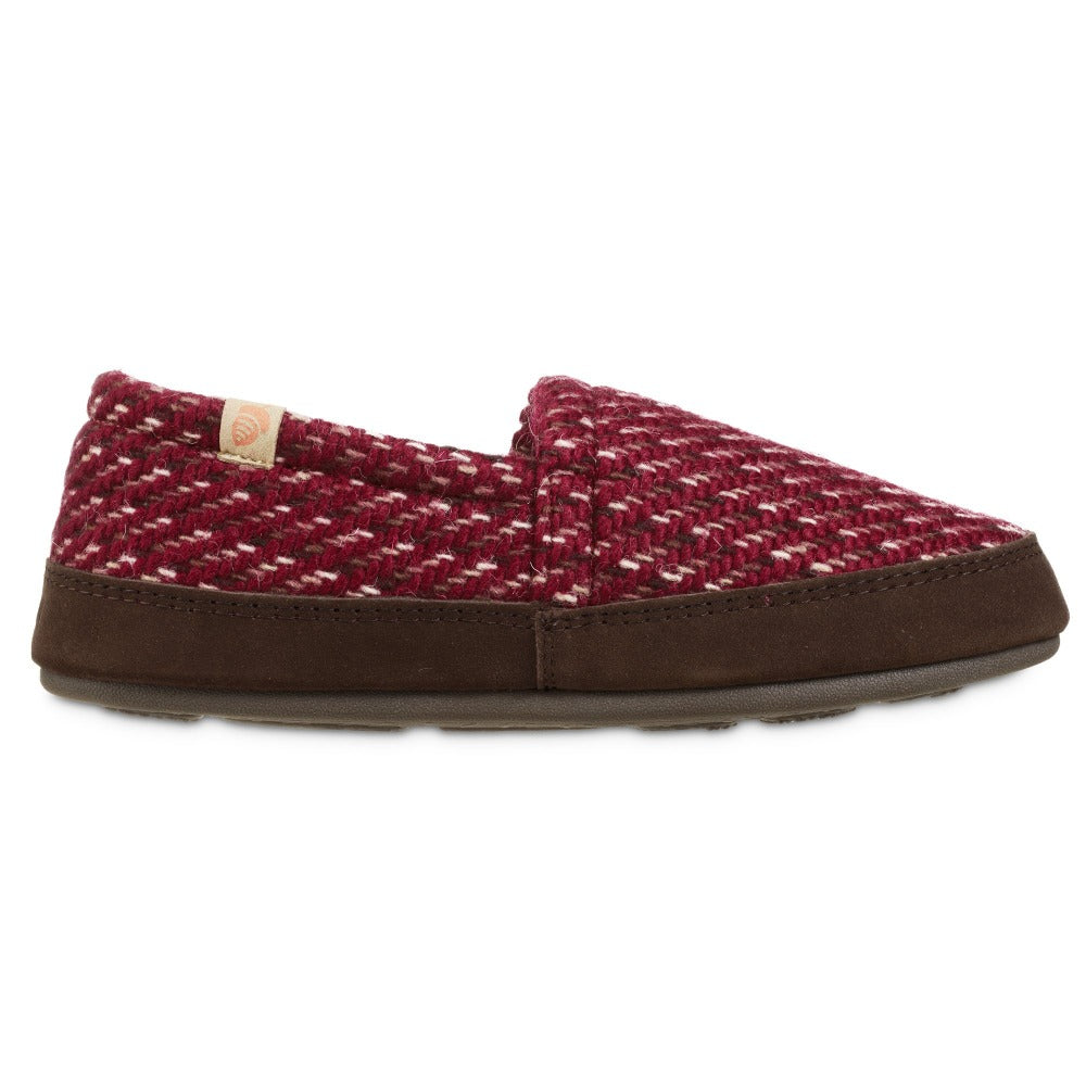 Women's Original Acorn Moccasins in Garnet Red Profile