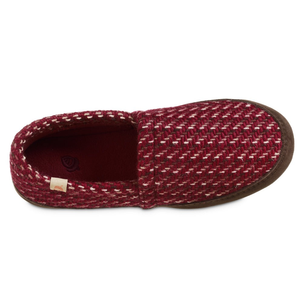 Women's Original Acorn Moccasins in Garnet Red Inside Top View
