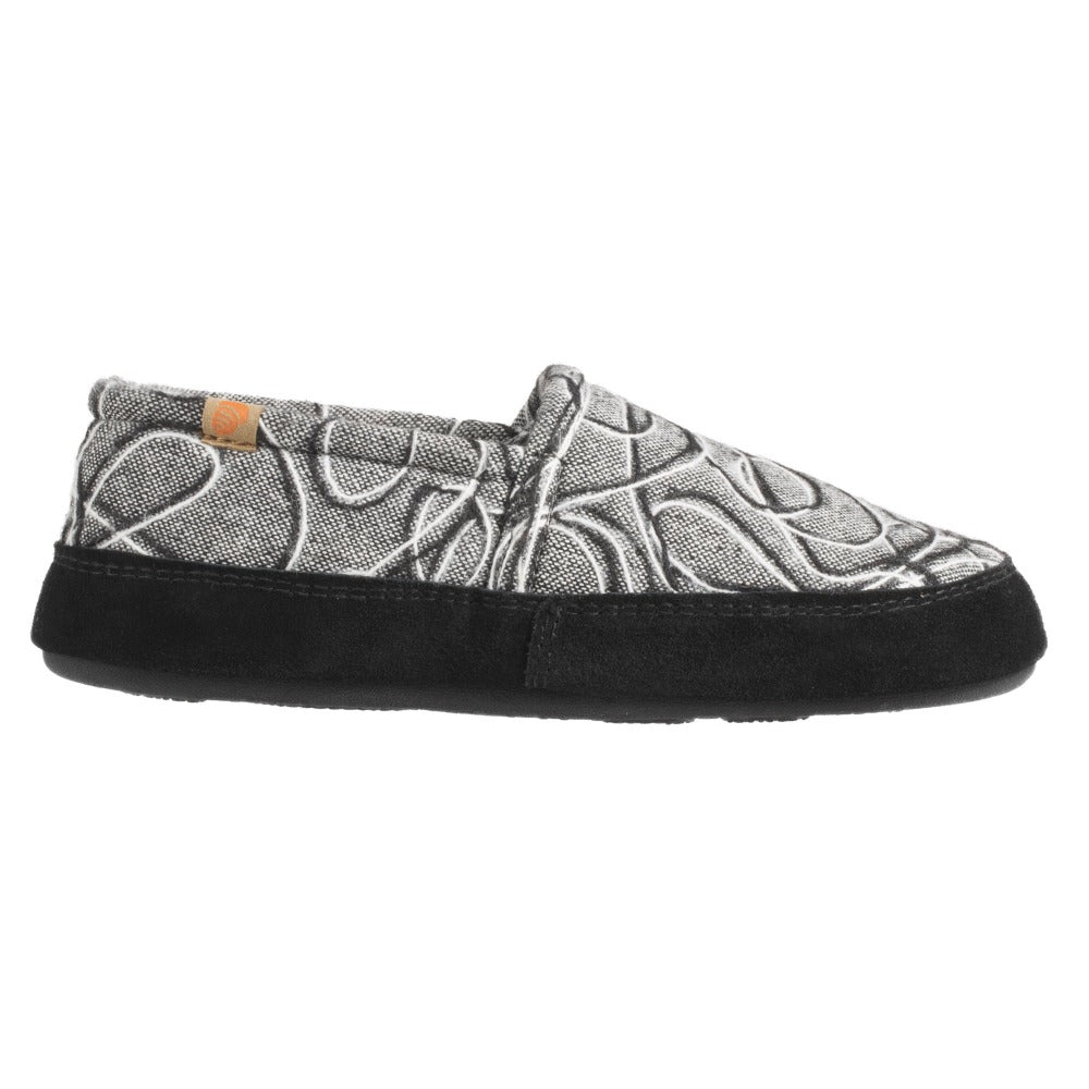 Women's Fleece Moc Slippers in Grey Scribble Scrabble Right Angled View